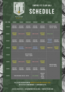 Empire Fit Club Bali schedule wef  Nov